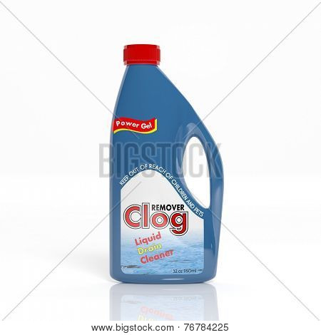 3D Clog Remover plastic bottle isolated on white background
