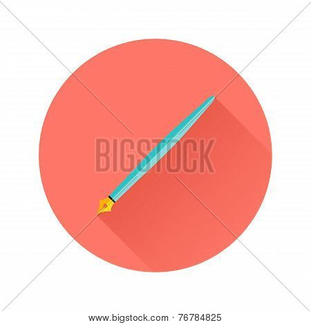 Pen Flat Circle Icon