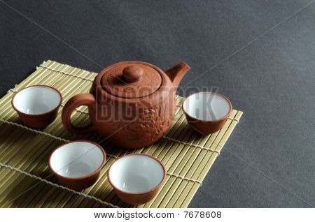 Clay teapot and teacup