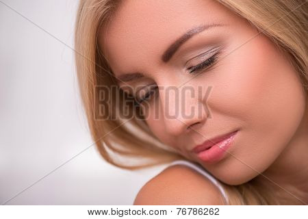 Beautiful blond girl expresses different emotions
