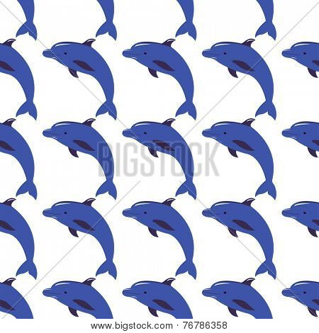 Seamless vector background with dolphins. Vector illustration for design of gift packs, wrap,  patterns fabric, wallpaper, web sites and other.