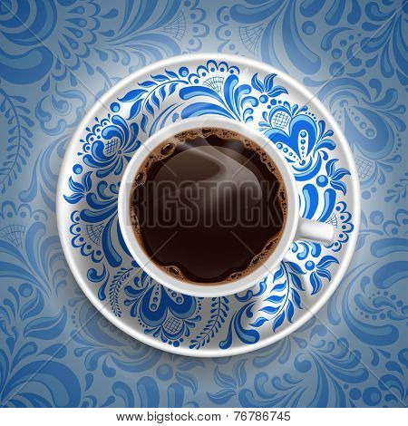 Cup with fresh hot coffee on luxury painted saucer and ornate background in Russian style Gzhel. Vector illustration.