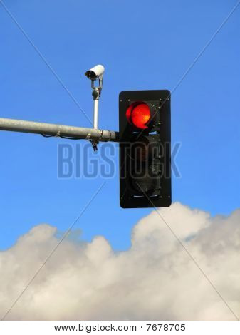 Red Traffic Light And Camera.