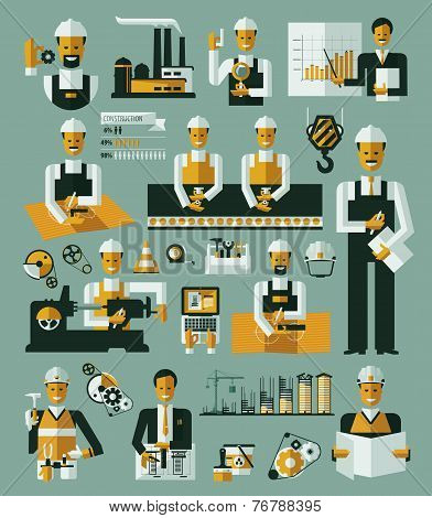 Factory production process icons set infographic vector illustration