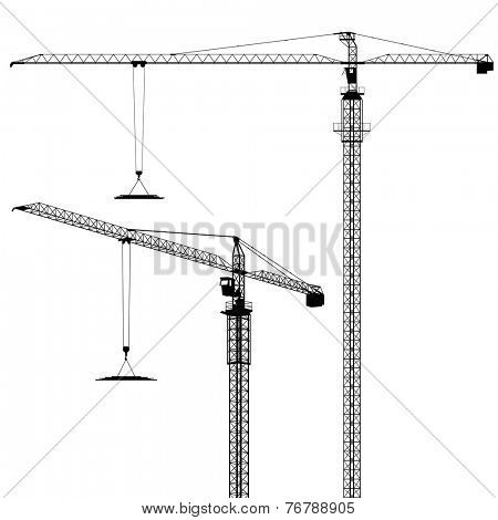 Tower Cranes in Silhouette - Vector EPS 8