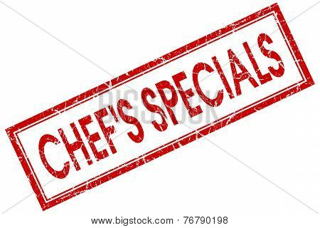 Chefs Specials Red Square Stamp Isolated On White Background
