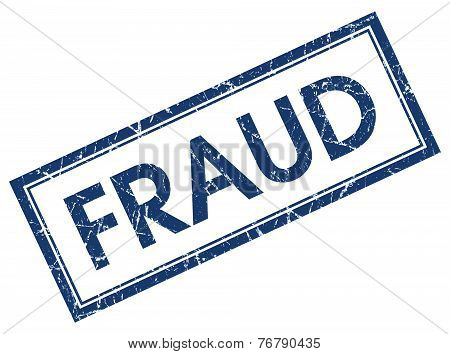 Fraud Blue Square Stamp Isolated On White Background