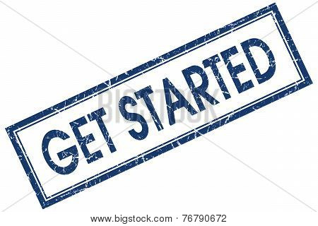 Get Started Blue Square Stamp Isolated On White Background