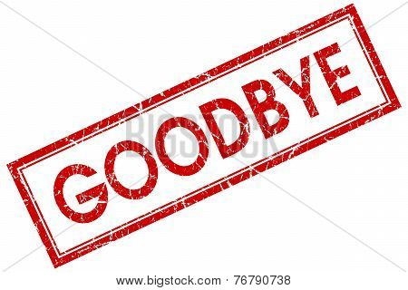Goodbye Red Square Stamp Isolated On White Background