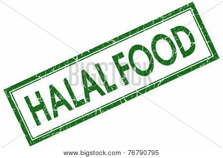 Halal Food Green Square Stamp Isolated On White Background
