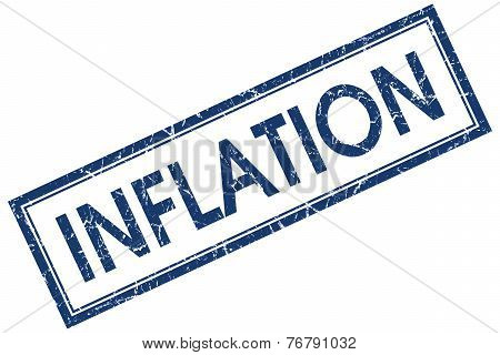 Inflation Blue Square Stamp Isolated On White Background