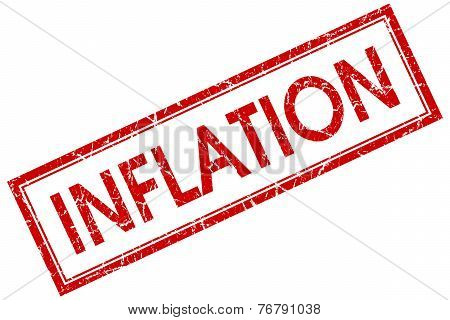 Inflation Red Square Stamp Isolated On White Background