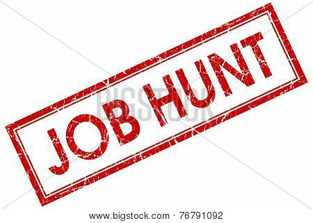 Job Hunt Red Square Stamp Isolated On White Background
