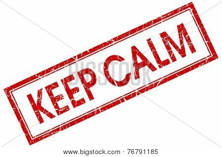 Keep Calm Red Square Stamp Isolated On White Background