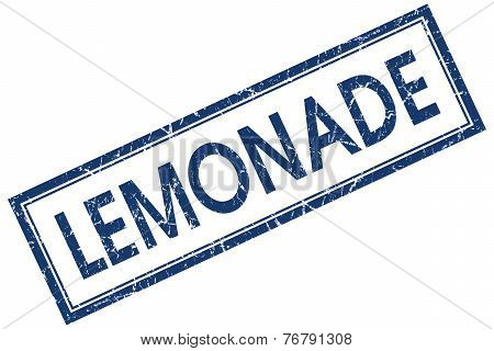 Lemonade Blue Square Stamp Isolated On White Background