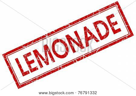 Lemonade Red Square Stamp Isolated On White Background