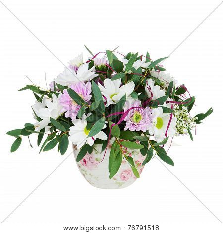 Bouquet of Gerbera Flowers In Vase Isolated On White Background.