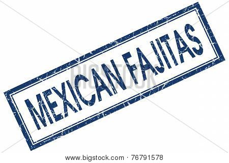 Mexican Fajitas Blue Square Stamp Isolated On White Background