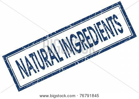 Natural Ingredients Blue Square Stamp Isolated On White Background