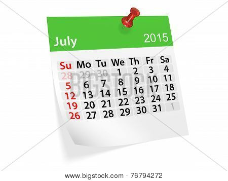 Monthly Calendar For Year 2015. July
