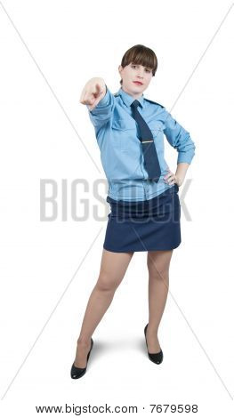 Pointing Woman In Uniform