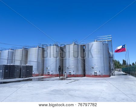 Some Wine Metallic Fermentation Tanks