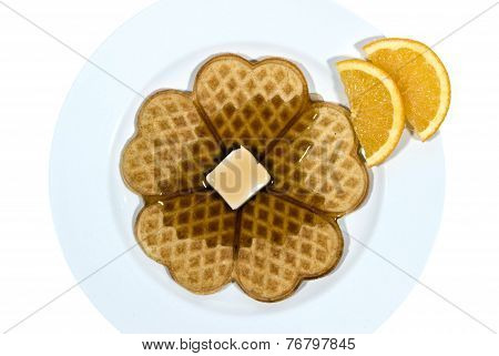 Hot Heart Shaped Waffles With Butter And Maple Syrup