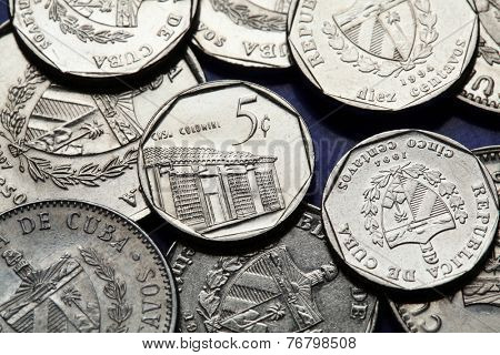 Coins of Cuba. Traditional Cuban colonial house depicted in the Cuban five centavo coin of Cuban convertible peso (CUC).