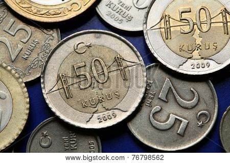 Coins of Turkey. Bosphorus Bridge over the Bosphorus strait in Istanbul depicted in the Turkish 50 kurus coin.