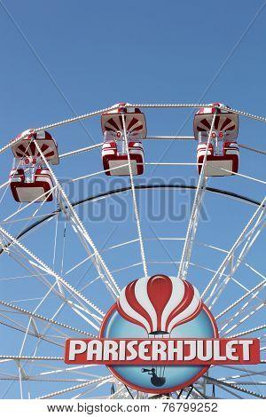 Giant ferris wheel in tivoli, Aarhus, Denmark