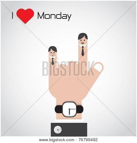 I Love Monday Concept.