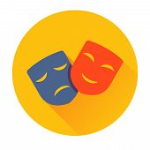 picture of pantomime  - theater masks icon vector trendy illustrations isolated - JPG