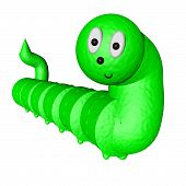picture of green caterpillar  - Smiling toony green caterpillar isolated over white 3d render - JPG