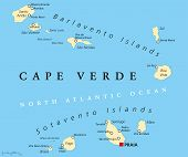 picture of political map  - Cape Verde Political Map with capital Praia and important cities - JPG