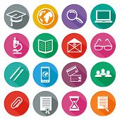 stock photo of long distance  - Set of 16 round icons of professional training - JPG