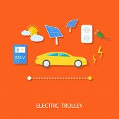 stock photo of solar battery  - Renewable energy concept for electric car with solar panel - JPG