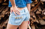 pic of ass  - beautiful ass woman in blue jeans closeup - JPG