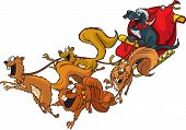 stock photo of sled-dog  - Cartoon Santa Dog with a squirrel sled team - JPG