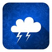 storm flat icon, christmas button, waether forecast sign  poster