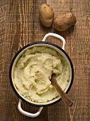 pic of mashed potatoes  - close up of a pot of rustic mash potato - JPG