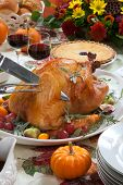 stock photo of kumquat  - Carving roasted turkey on a server tray garnished with fresh figs grape kumquat and herbs on fall harvest table - JPG