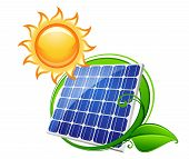 picture of solar battery  - Solar panel or battery with shining sun for technology - JPG