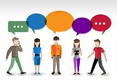 pic of pixel  - Adult pixel men and women avatars with speech bubbles people chat concept vector illustration - JPG