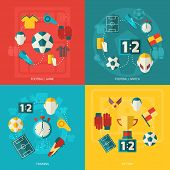 stock photo of flat-foot  - Soccer icons flat set with football game match training victory isolated vector illustration - JPG