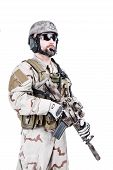 foto of assault-rifle  - Bearded special warfare operator with assault rifle - JPG