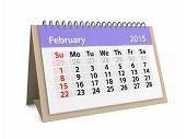 stock photo of february  - Monthly calendar for year 2015 - JPG