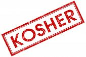 stock photo of seder  - kosher red square stamp isolated on white background - JPG