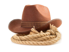 foto of wrangler  - brown cowboy hat and rope isolated on white background - JPG