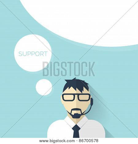 Flat support background with male icon. Service concept.