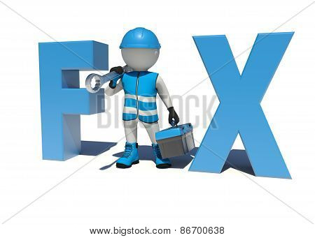 Worker in overalls holding tool box and wrench on his shoulder. Fix concept